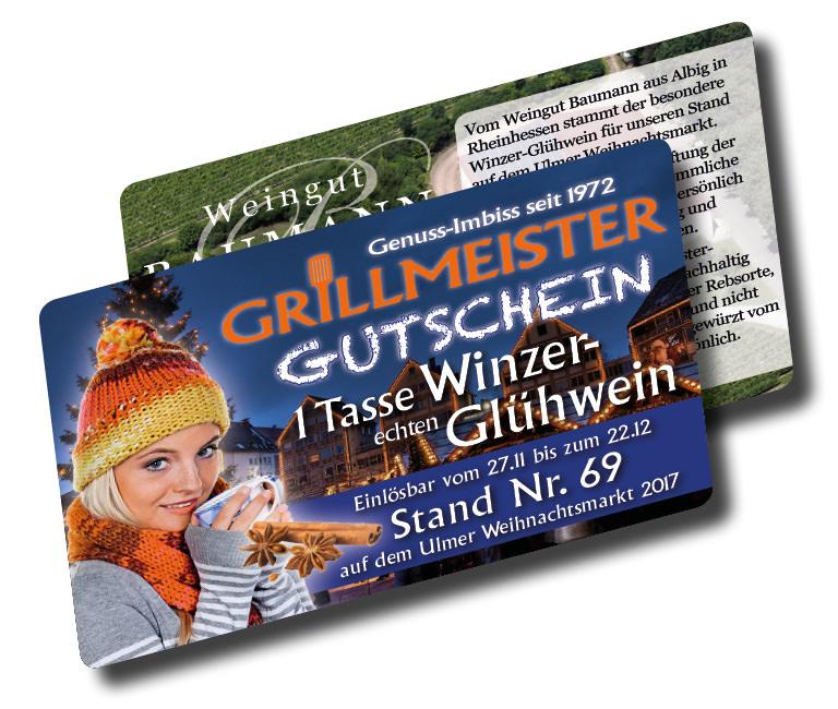 Glühwein-Gutschein von Grillmeister auf dem Ulmer Weihnachtsmarkt